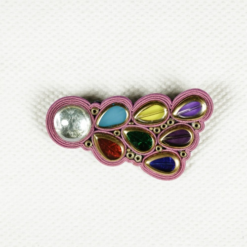 Glass and Leather Brooch