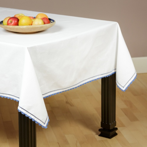 Embroidered tablecloth, blue sewing