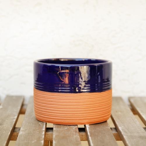 Ceramic flower pot, partly enamelled