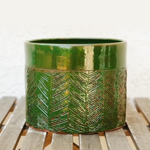 Ceramic flower pot, green enamel