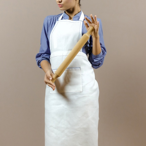 Embroidered apron, blue motifs