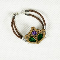 Glass and Leather Bracelet