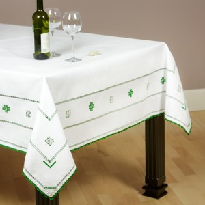 Embroidered tablecloth, green sewing