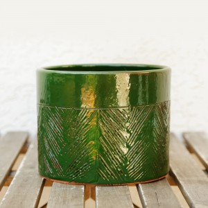 Ceramic flower pot, green enamel