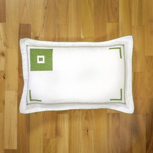 Handsewed pillow case, green motifs