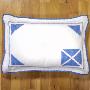 Handsewed pillow case, blue motifs