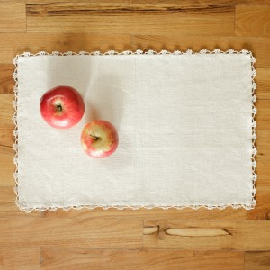 Embroidered hemp placemat