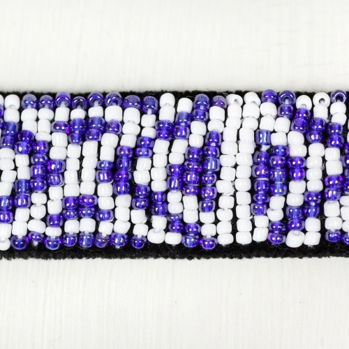 Handmade belt sewn with glass beads
