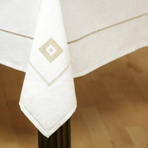 Embroidered tablecloth, beige sewing