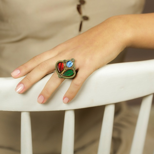 Glass and Leather Ring