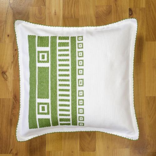 Handsewed pillow case, green motifs
