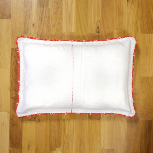 Handsewed pillow case, red motifs
