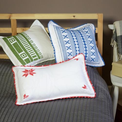 Handsewed pillow case, blue motifs