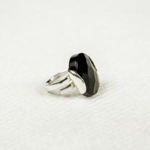 Inel din argint cu piatră de obsidian