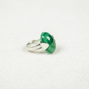 Inel din argint cu piatră de malachit