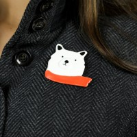 """Bear with scarf"" Brooch"