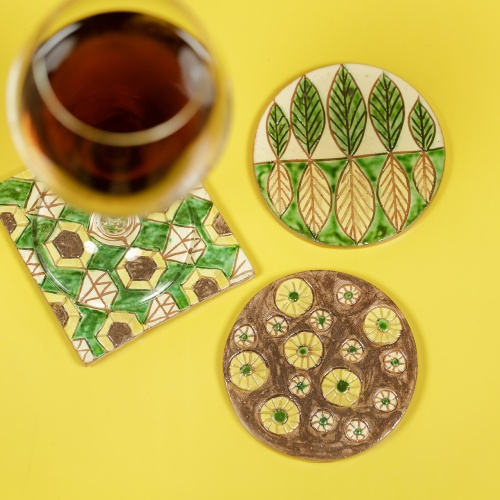Handmade ceramic coaster